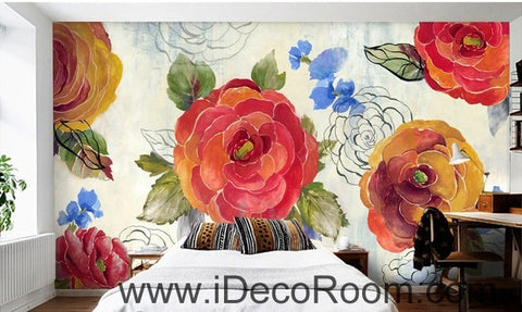 Image of Vintage Camellia Flower IDCWP-000056 Wallpaper Wall Decals Wall Art Print Mural Home Decor Gift