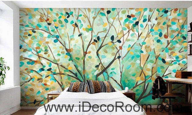 Abstract Spring Forest Tree Branch Leaves IDCWP-000057 Wallpaper Wall Decals Wall Art Print Mural Home Decor Gift