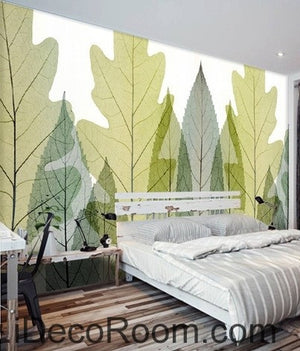 Transparent Phoenix Tree Leave IDCWP-000058 Wallpaper Wall Decals Wall Art Print Mural Home Decor Gift