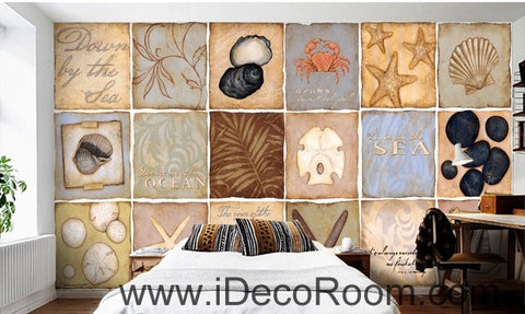 Vintage Sea Ocean Shells Illustration IDCWP-000059 Wallpaper Wall Decals Wall Art Print Mural Home Decor Gift