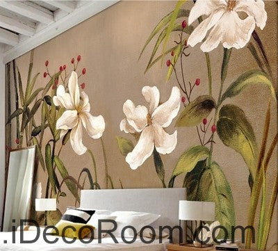 Vintage Bamboo Flower IDCWP-000060 Wallpaper Wall Decals Wall Art Print Mural Home Decor Gift