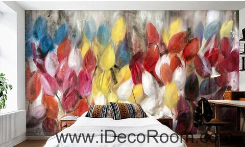 Abstract Yellow Red Pink Tulips Flower IDCWP-000061 Wallpaper Wall Decals Wall Art Print Mural Home Decor Gift