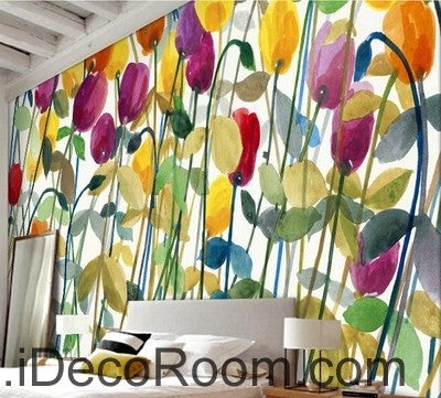 Image of Abstract Poppy Flower Yellow Red Purple IDCWP-000062 Wallpaper Wall Decals Wall Art Print Mural Home Decor Gift