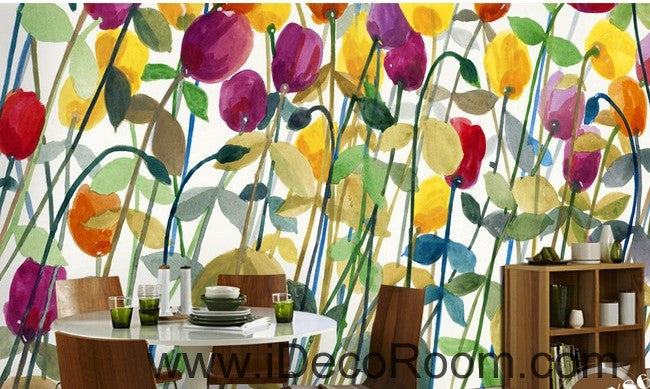 Abstract Poppy Flower Yellow Red Purple IDCWP-000062 Wallpaper Wall ...