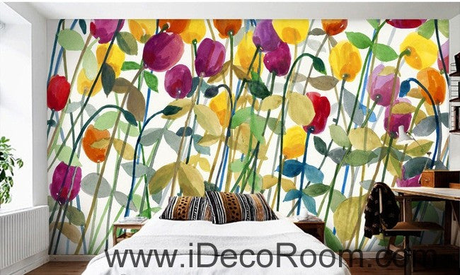 Abstract Poppy Flower Yellow Red Purple IDCWP-000062 Wallpaper Wall Decals Wall Art Print Mural Home Decor Gift