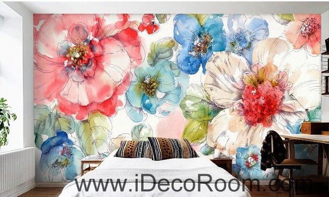 Watercolor Pink White Camellia Flower IDCWP-000063 Wallpaper Wall Decals Wall Art Print Mural Home Decor Gift