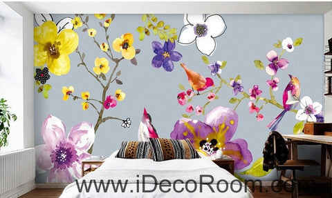 Image of Flower Birds Branch IDCWP-000064 Wallpaper Wall Decals Wall Art Print Mural Home Decor Gift