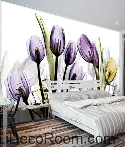 Image of Transparent Purple Yellow Tulips Flower IDCWP-000066 Wallpaper Wall Decals Wall Art Print Mural Home Decor Gift