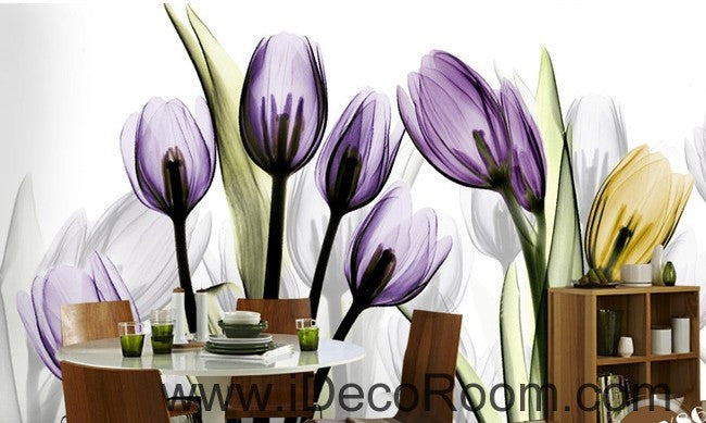 Transparent Purple Yellow Tulips Flower IDCWP-000066 Wallpaper Wall Decals Wall Art Print Mural Home Decor Gift