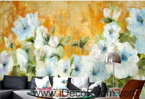 Vintage Abstract White Flower Bush IDCWP-000067 Wallpaper Wall Decals Wall Art Print Mural Home Decor Gift