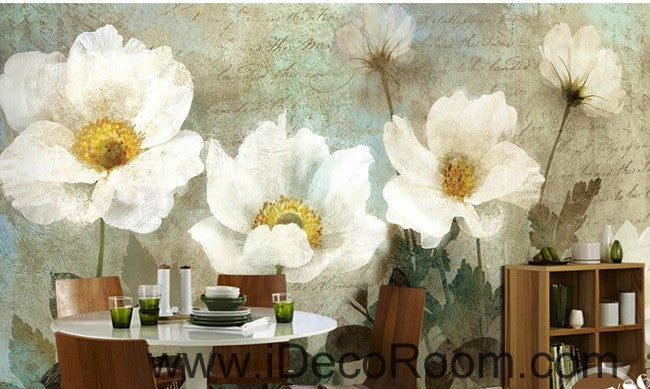 Retro White Flowers IDCWP-000070 Wallpaper Wall Decals Wall Art Print Mural Home Decor Gift