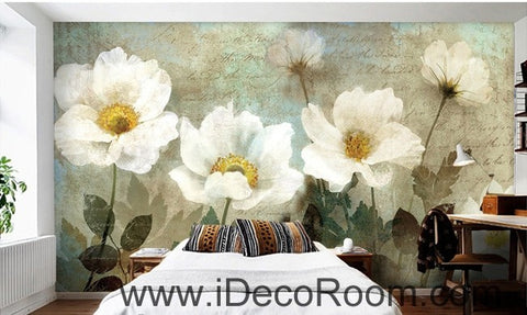 Image of Retro White Flowers IDCWP-000070 Wallpaper Wall Decals Wall Art Print Mural Home Decor Gift