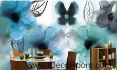 Abstract Watercolor Blue Flowers IDCWP-000072 Wallpaper Wall Decals Wall Art Print Mural Home Decor Gift