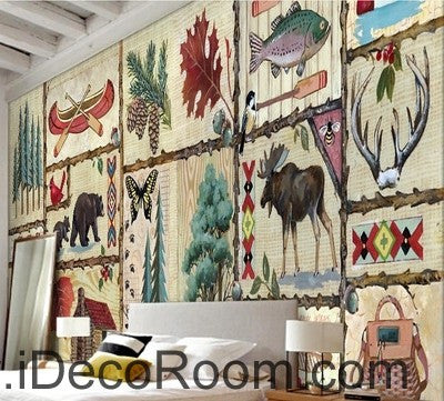 Retro Pictrues Forest Animals Tree IDCWP-000073 Wallpaper Wall Decals Wall Art Print Mural Home Decor Gift