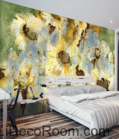 Abstract Yellow Sunflowers Flower IDCWP-000074 Wallpaper Wall Decals ...