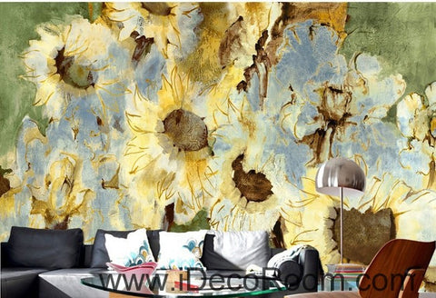Image of Abstract Yellow Sunflowers Flower IDCWP-000074 Wallpaper Wall Decals Wall Art Print Mural Home Decor Gift
