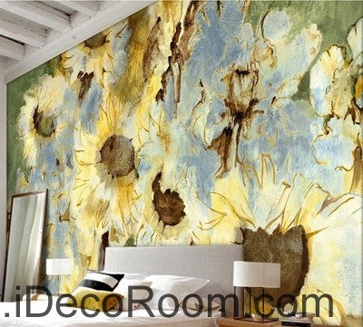 Abstract Yellow Sunflowers Flower IDCWP-000074 Wallpaper Wall Decals Wall Art Print Mural Home Decor Gift