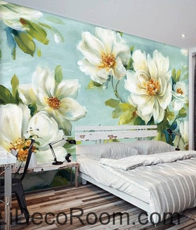 Vintage White Camellia Flower IDCWP-000075 Wallpaper Wall Decals Wall Art Print Mural Home Decor Gift
