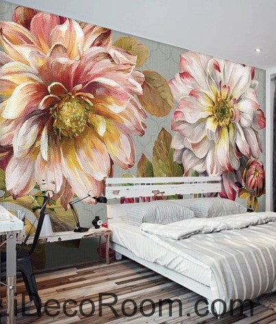 Vintage large flower leaves idcwp 000076 wallpaper wall - Flower wallpaper mural ...