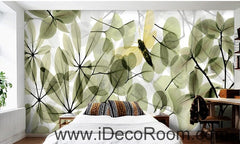 Transparent Green Leaves Butterfly IDCWP-000077 Wallpaper Wall Decals Wall Art Print Mural Home Decor Gift
