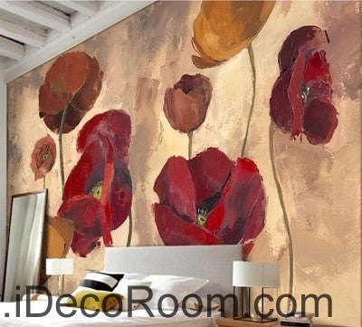 Pink Red Brown Poppy Flower IDCWP-000078 Wallpaper Wall Decals Wall Art Print Mural Home Decor Gift