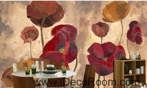 Image of Pink Red Brown Poppy Flower IDCWP-000078 Wallpaper Wall Decals Wall Art Print Mural Home Decor Gift