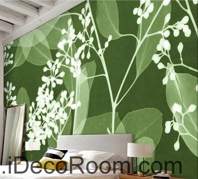 Image of Green Grass Wild Flower Leaves Illustration IDCWP-000080 Wallpaper Wall Decals Wall Art Print Mural Home Decor Gift