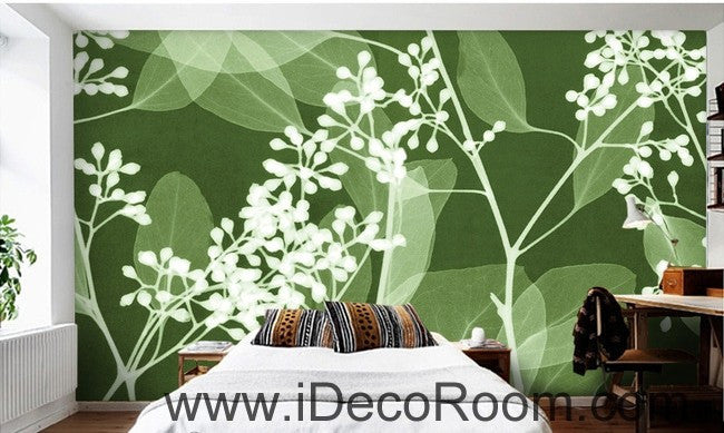 Green Grass Wild Flower Leaves Illustration IDCWP-000080 Wallpaper Wall Decals Wall Art Print Mural Home Decor Gift