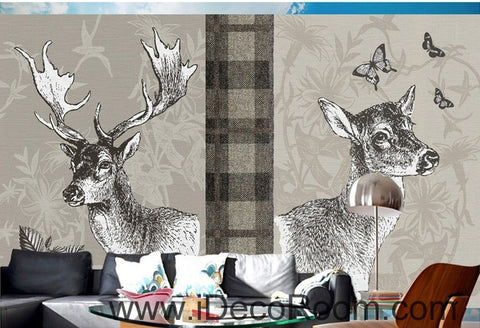 Image of Retro Square Patterns Animals Red Deer Butterfly oil painting effect wallpaper wall mural