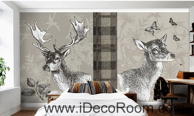 Retro Square Patterns Animals Red Deer Butterfly oil painting effect wallpaper wall mural