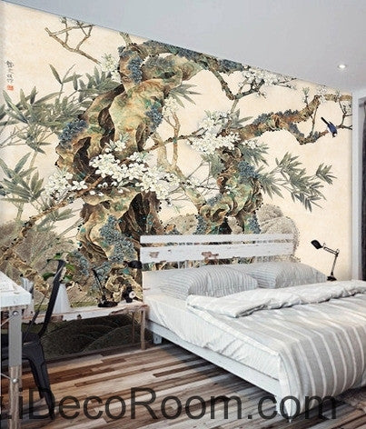 Image of Retro Kutai old tree pine tree branches on the magpie bird painting wallpaper wall mural