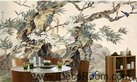 ... Image Of Retro Kutai Old Tree Pine Tree Branches On The Magpie Bird  Painting Wallpaper Wall ...