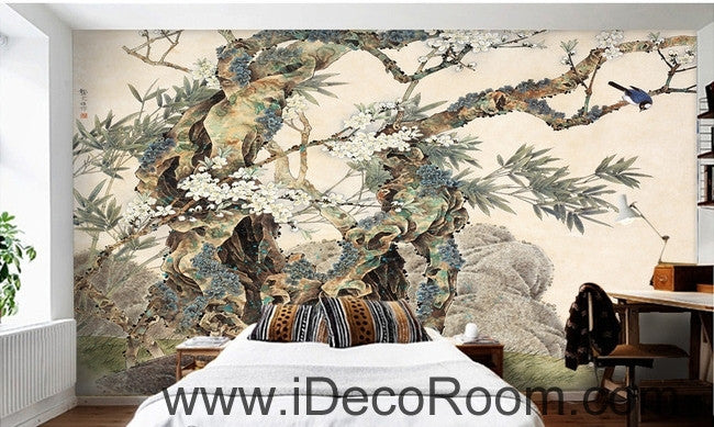 Retro Kutai old tree pine tree branches on the magpie bird painting wallpaper wall mural