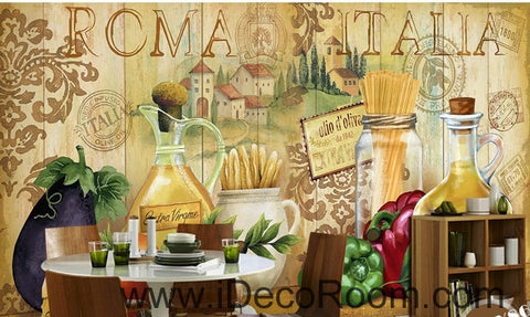 Image of European style retro chopsticks eggplant chili kitchen oil painting effect wallpaper wall mural