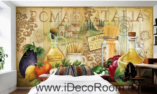 European style retro chopsticks eggplant chili kitchen oil painting effect wallpaper wall mural