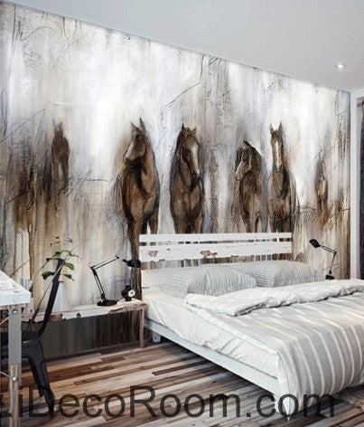 Marvelous Amazing Retro Abstract Horses Runing Oil Painting Effect Wallpaper Wall  Mural With Fur Wallpaper For Bedrooms