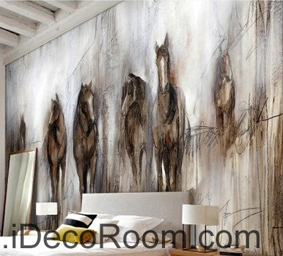 Retro abstract horses runing oil painting effect wallpaper wall mural