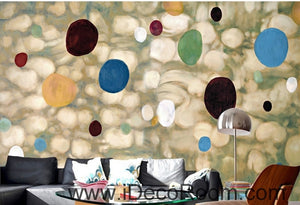 European Retro Abstract Circle Colors Stains Split oil painting effect wall art wall decor mural wallpaper wall  IDCWP-000086