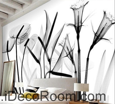 Image of Beautiful dream black and white art calla lily tulip transparent wall art wall decor mural wallpaper wall  IDCWP-000087