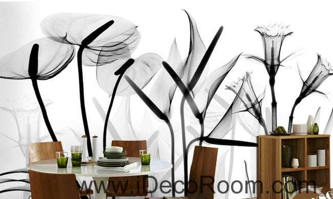 Beautiful dream black and white art calla lily tulip transparent wall art wall decor mural wallpaper wall  IDCWP-000087