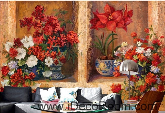 Beautiful dream gorgeous blooming red flower pots oil painting effect wall art wall decor mural wallpaper wall  IDCWP-000089
