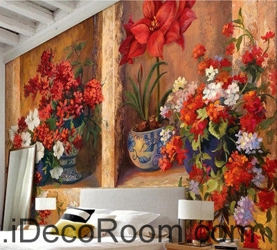 Image of Beautiful dream gorgeous blooming red flower pots oil painting effect wall art wall decor mural wallpaper wall  IDCWP-000089