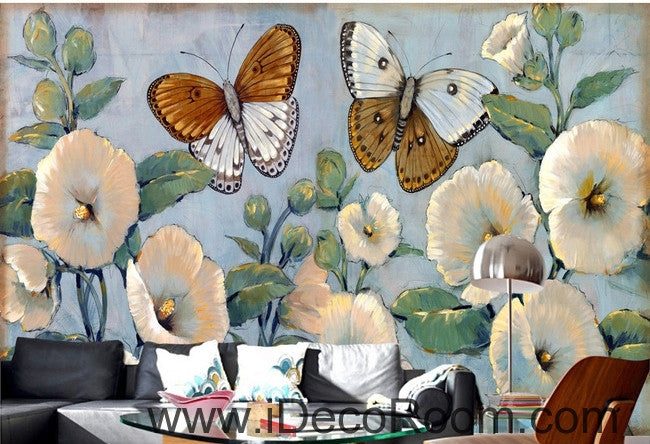 Beautiful Dream Romantic Fresh Blue Hibiscus Baba Butterfly wall art wall decor mural wallpaper wall  IDCWP-000091