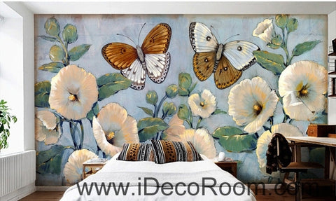 Image of Beautiful Dream Romantic Fresh Blue Hibiscus Baba Butterfly wall art wall decor mural wallpaper wall  IDCWP-000091