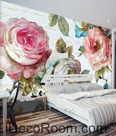 European style garden flowers bloom pink roses oil painting effect wall art wall decor mural wallpaper wall  IDCWP-000092