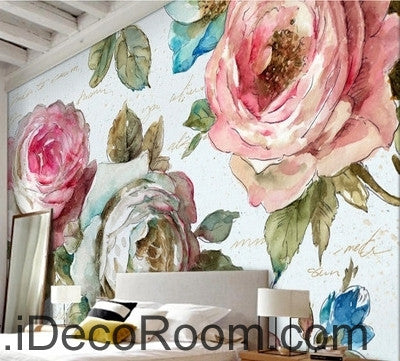 European style garden flowers bloom pink roses oil painting effect european style garden flowers bloom pink roses oil painting effect wall art wall decor mural wallpaper mightylinksfo