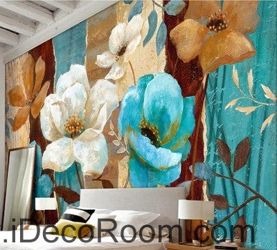 Image of European style fresh and beautiful bloom roses camellia oil painting effect wall art wall decor mural wallpaper wall  IDCWP-000093