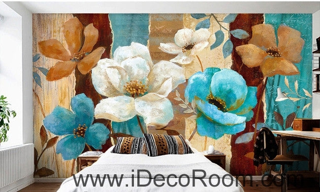 European style fresh and beautiful bloom roses camellia oil painting effect wall art wall decor mural wallpaper wall  IDCWP-000093