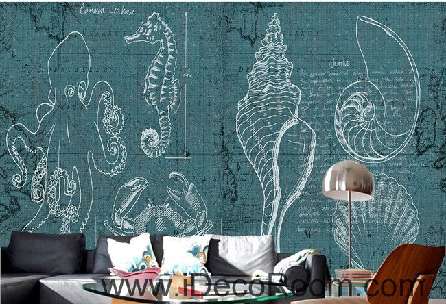 Fantasy fresh blue and white lines abstract sea hippocampus octopus wall art wall decor mural wallpaper wall  IDCWP-000094