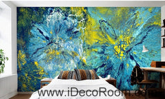 A beautiful fresh blue abstract floral painting wall art wall decor mural wallpaper wall  IDCWP-000095